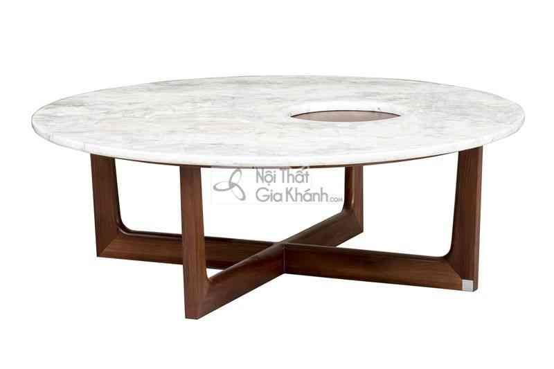 Bàn trà (Bàn Sofa) thấp hình tròn mặt đá gỗ sang trọng 1911BT-4 - 1911J 4 5