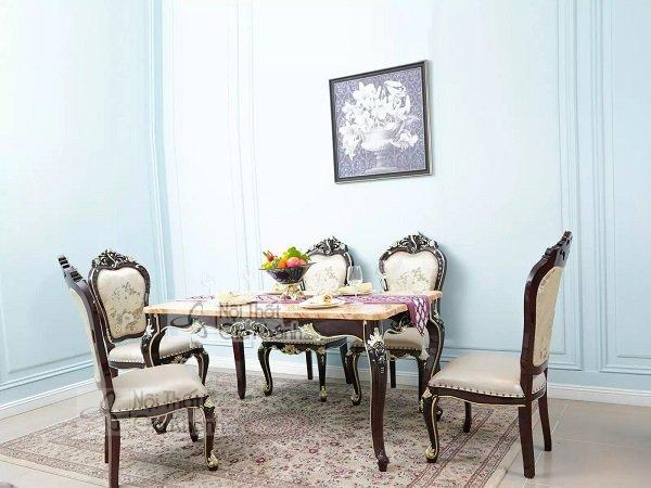 Bàn ghế ăn bằng đá Hồng Ngọc Long cao cấp PA8801GD