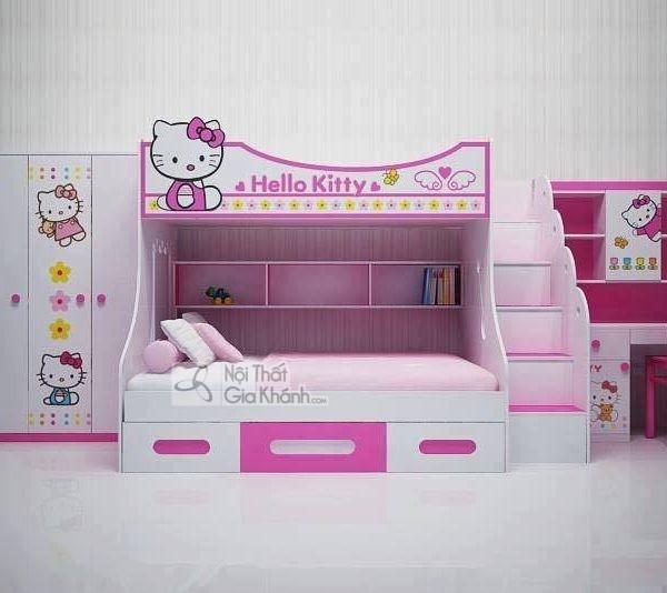 giường ngủ cho trẻ em màu hồng