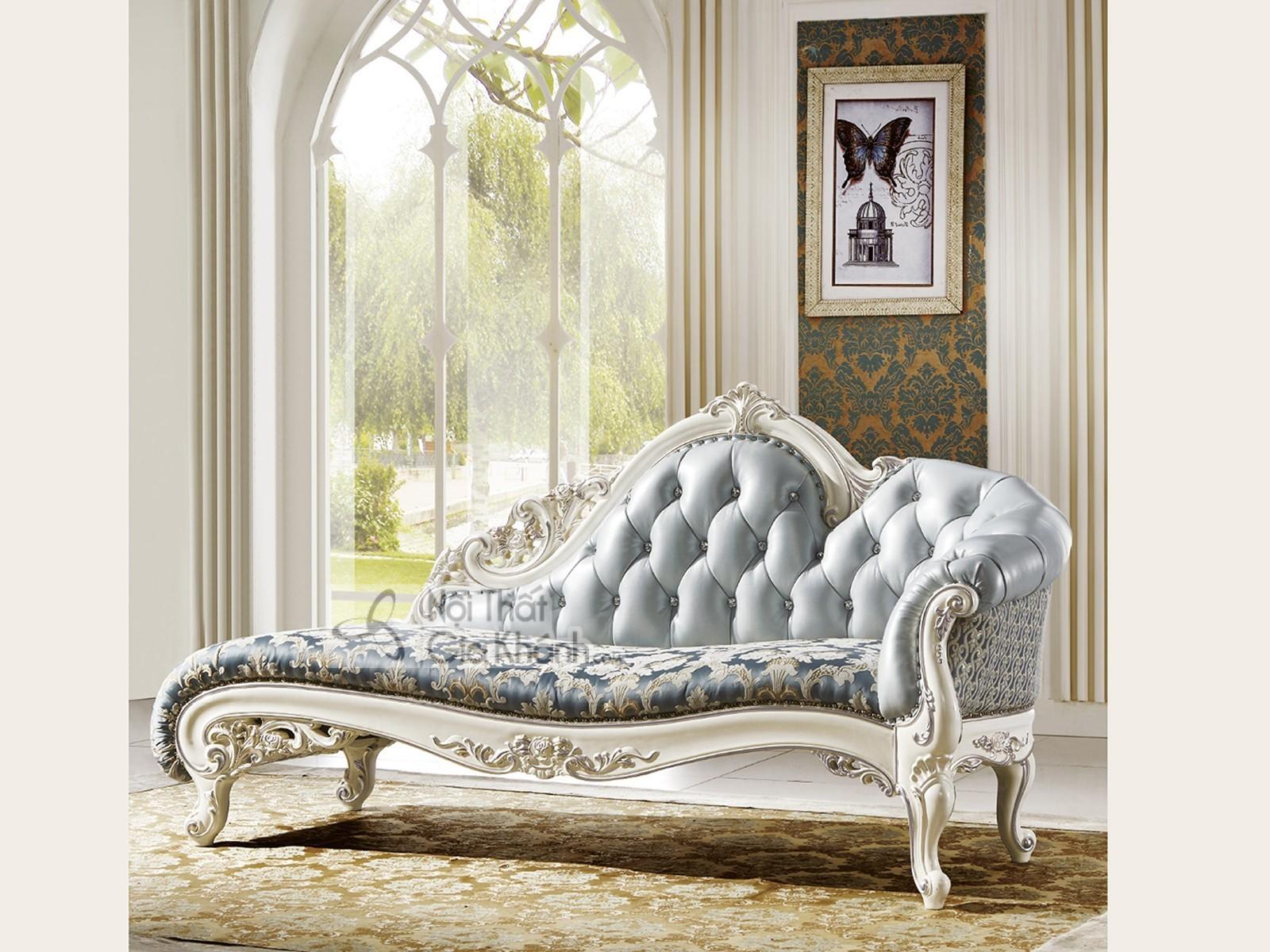 Ghế quý phi - Sofa phòng ngủ da phối nỉ cao cấp QP8801H