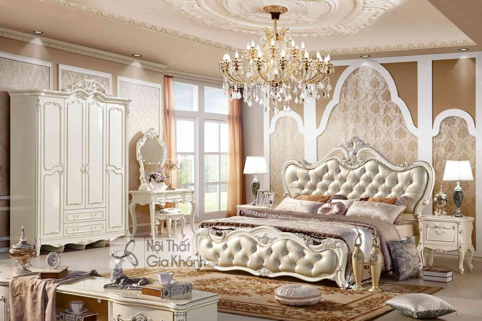 Mẫu giường ngủ đẹp màu trắng French White GI8802H