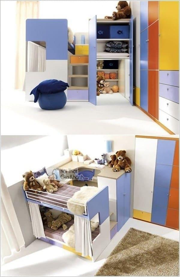 13 mẫu giường kèm bàn học trẻ em và tủ quần áo kết hợp bàn học - 10 mau giuong kem ban hoc tre em tuyet dep 2