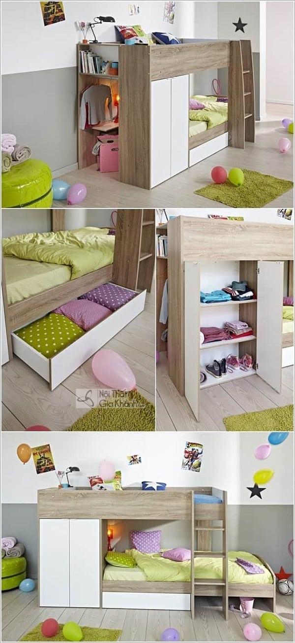 13 mẫu giường kèm bàn học trẻ em và tủ quần áo kết hợp bàn học - 10 mau giuong kem ban hoc tre em tuyet dep 3