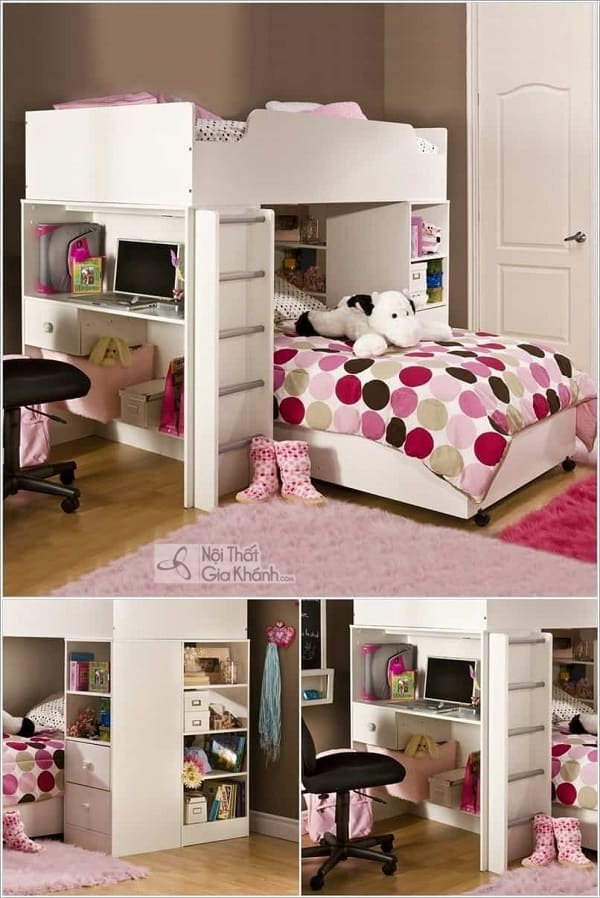 13 mẫu giường kèm bàn học trẻ em và tủ quần áo kết hợp bàn học - 10 mau giuong kem ban hoc tre em tuyet dep 8