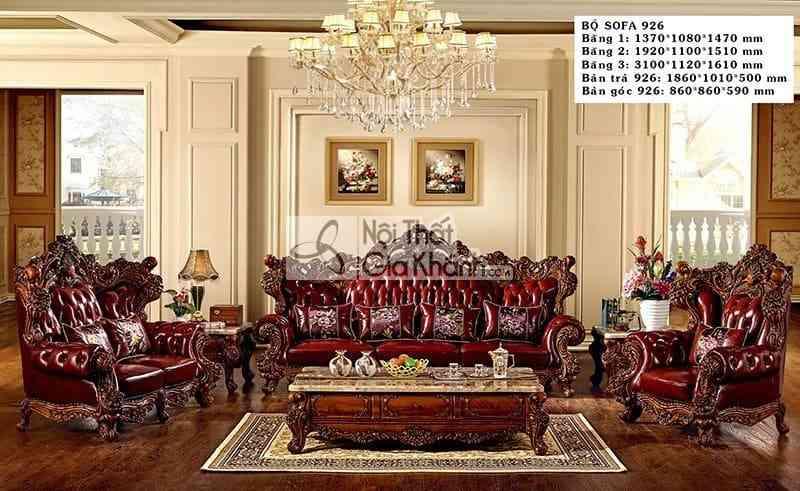Bàn trà cổ điển gỗ gõ đỏ mặt đá Hồng ngọc long cao cấp 926BT - ban tra co dien go go do mat da hong ngoc long cao cap 926bt