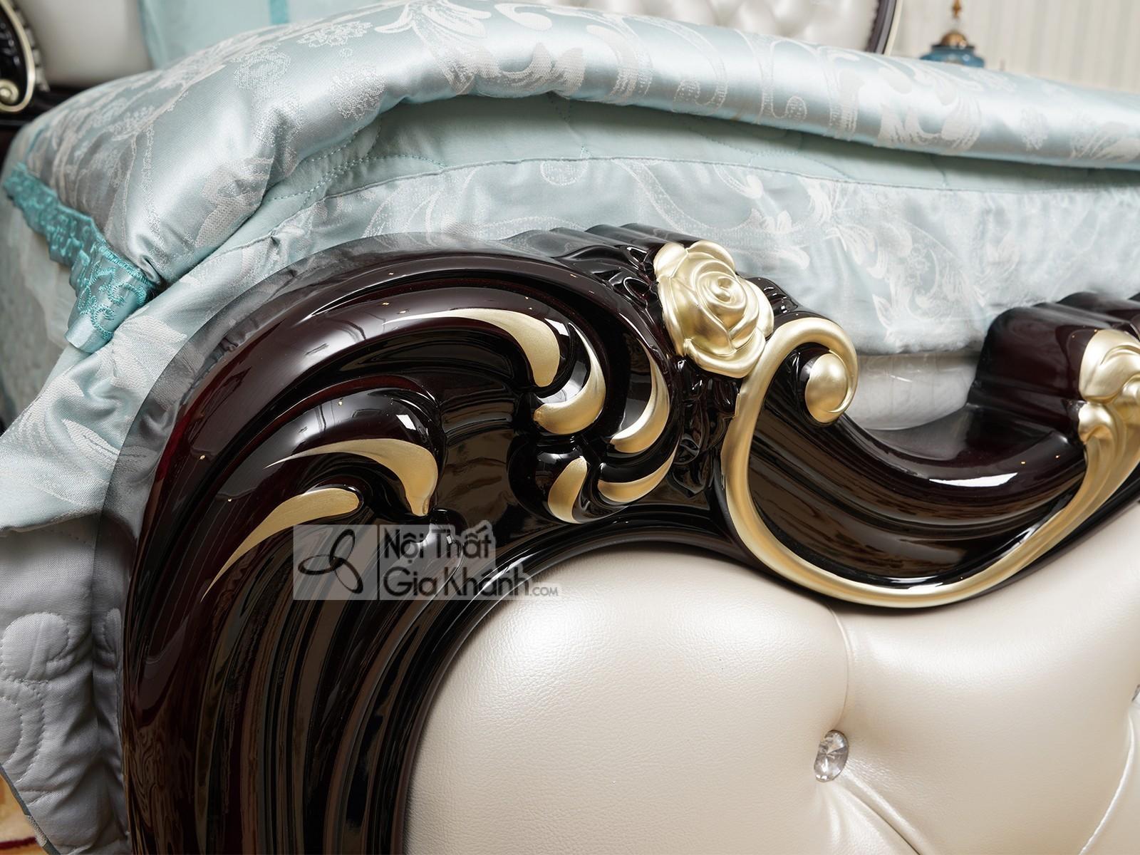 Giường ngủ màu nâu tân cổ điển gỗ cao cấp GI8802G