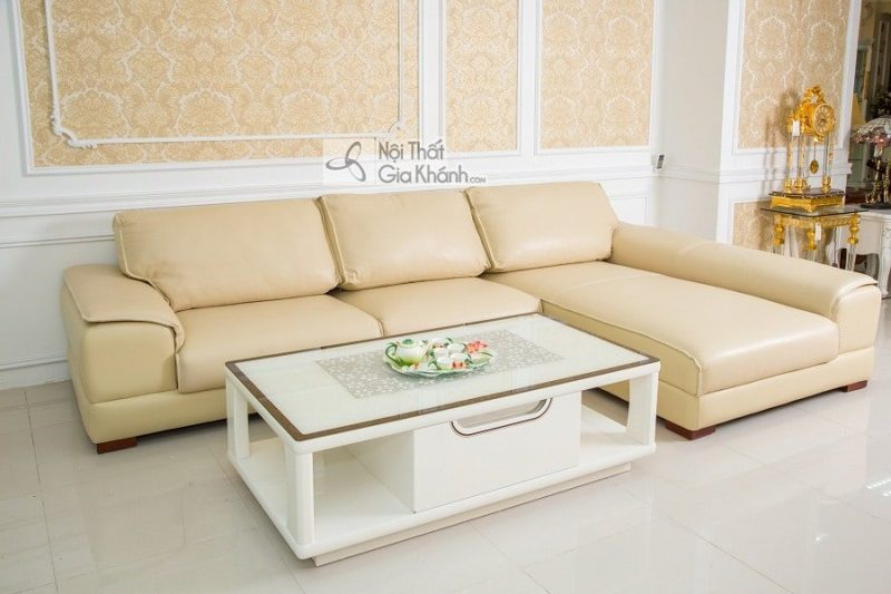 Sofa da Ý màu kem cao cấp 2 băng góc trái 6918K