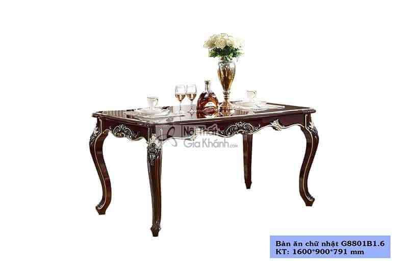 Bàn ăn 1m6 tân cổ điển gỗ Sồi cao cấp G8801B1.6