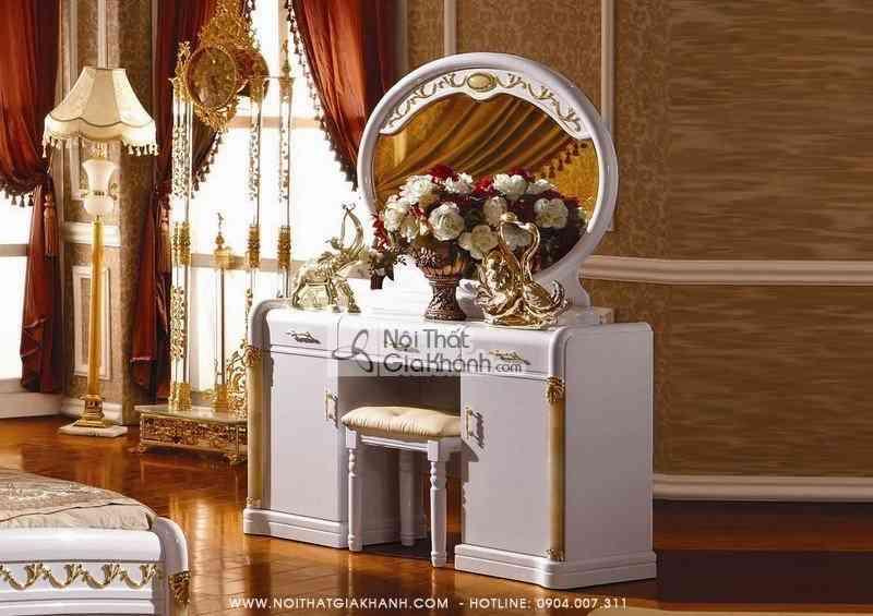 Bàn ghế trang điểm gỗ sồi màu trắng Tân cổ điển KH3007C