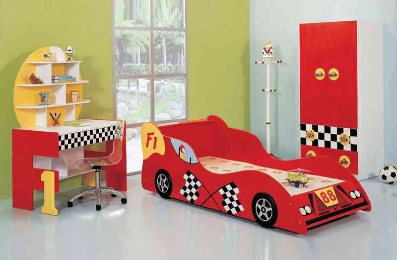 ban hoc xe dua f1 mau do d153 - Bộ phòng ngủ hình xe ô tô đua F1 màu đỏ D112B