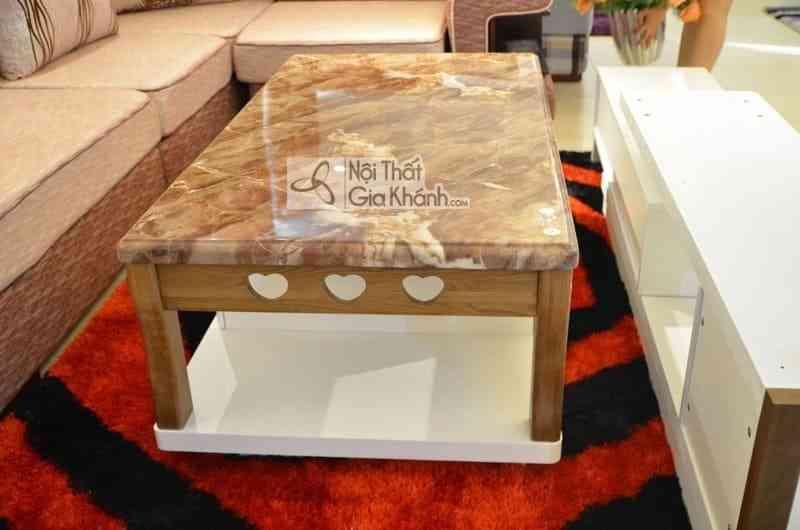 Bàn trà (Bàn Sofa) gỗ phòng khách mặt đá cao cấp nhập khẩu HC828-2