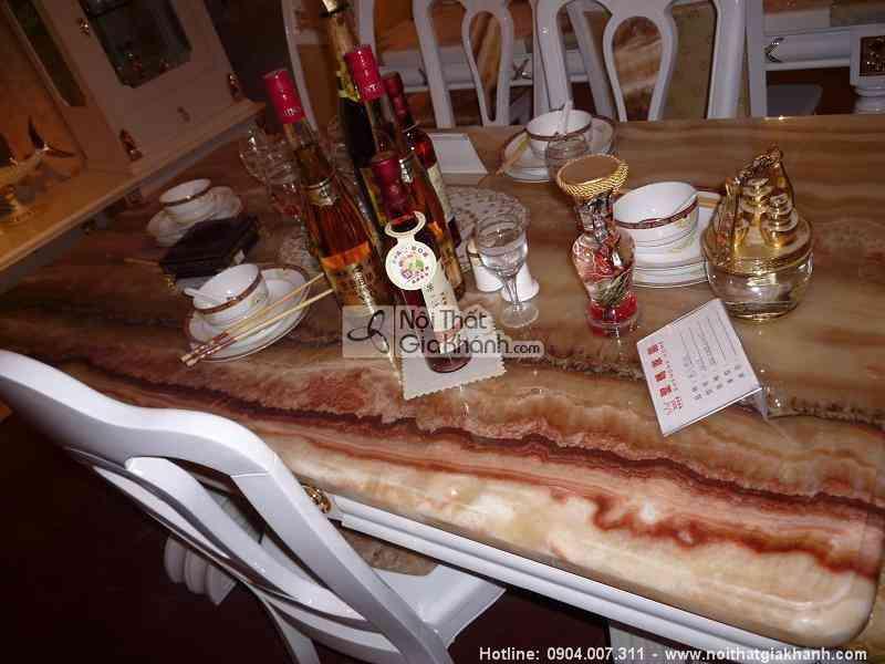 Bàn trà (Bàn Sofa) gỗ sồi tự nhiên mặt đá rồng đỏ 1.6m KH303SR