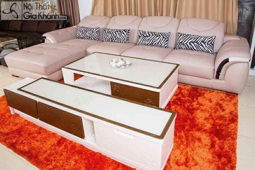 Bàn ghế phòng khách nhỏ đẹp cho nhà chung cư - ban tra c160001 va ke ti vi dong bo d164001