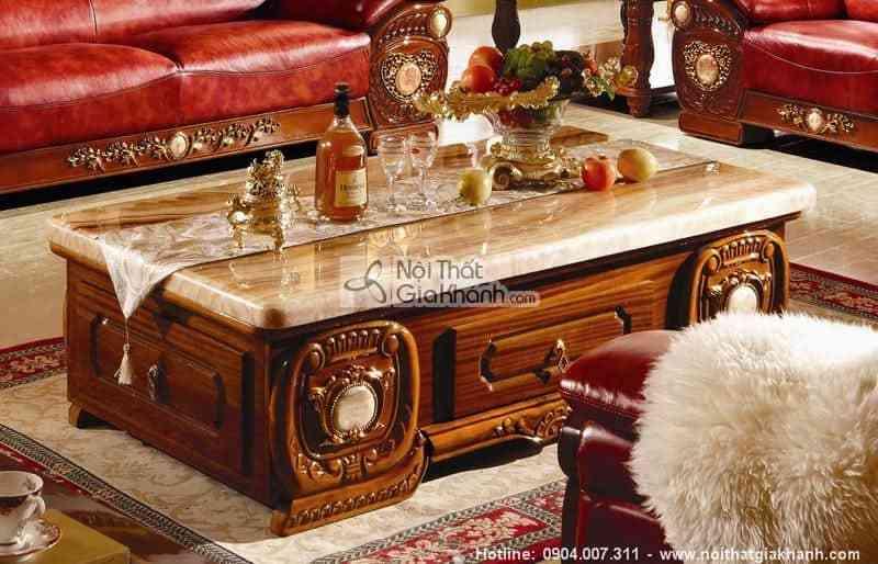 Bàn trà chữ nhật mặt đá cổ điển gỗ sồi tự nhiên cao cấp KH305BT1.6