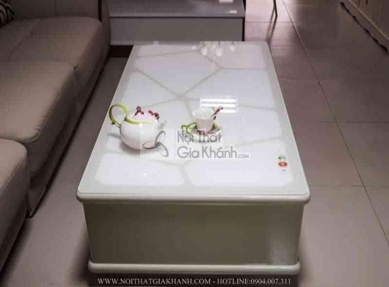 Bàn trà mặt kính màu trắng nhập khẩu HC83-1