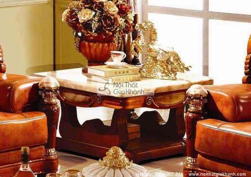 Bàn ghế phòng khách nhỏ đẹp cho nhà chung cư - ban tra vuong mat da go soi tu nhien ma vang nhap khau kh303bt0.9