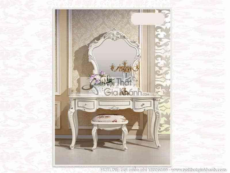 ban trang diem co dau mau trang go h8801c - Bộ giường ngủ 1m8 tinh tế phong cách Pháp 8810ABG