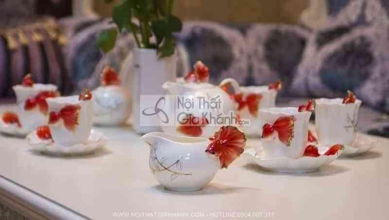 Bộ ấm chén pha trà nhập khẩu hình cá vàng 214