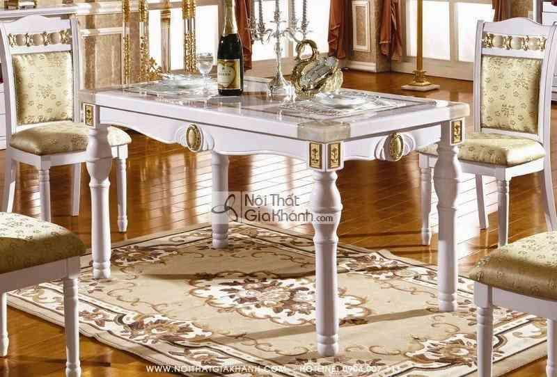 Bộ bàn ăn gỗ mặt đá KH211S - bo ban an go mat da kh211s 2
