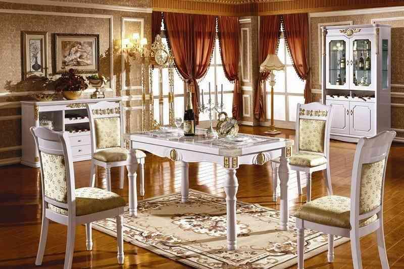 Bộ bàn ăn gỗ mặt đá KH211S - bo ban an go mat da kh211s