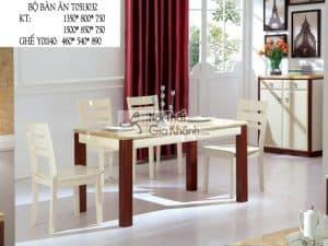Bộ bàn ăn mặt đá chân gỗ nâu T0513032