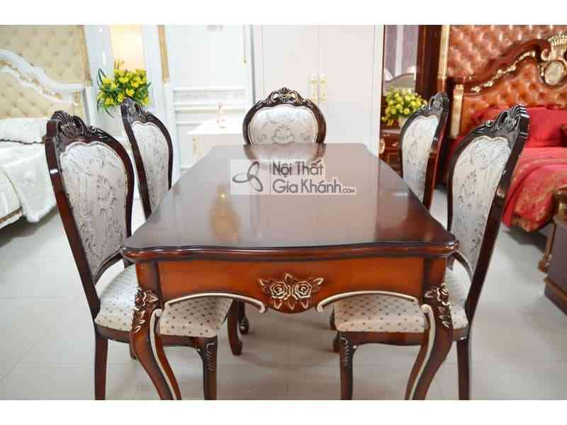 Bộ bàn ăn mặt gỗ chữ nhật cổ điển 9861