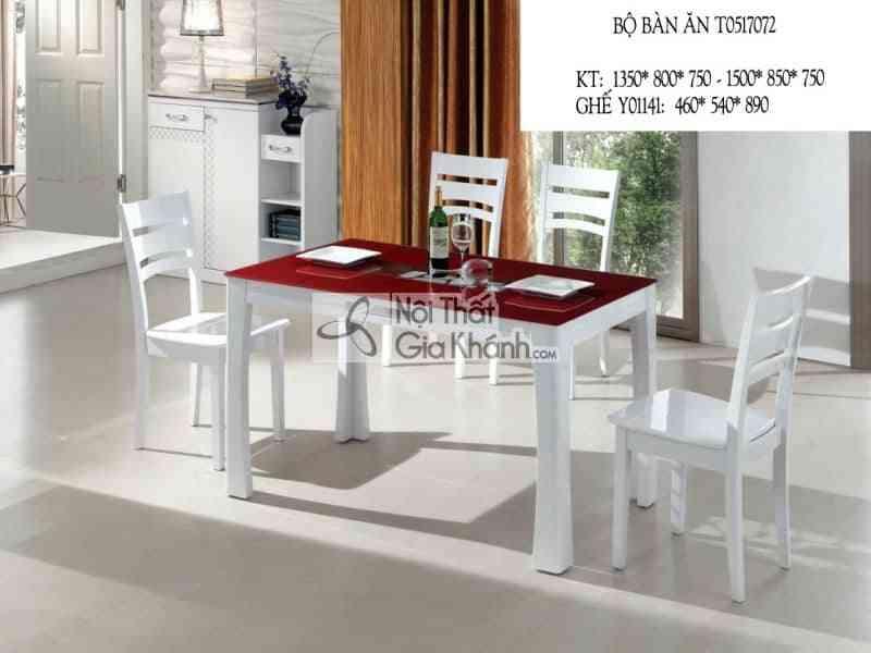 Bộ bàn ăn mặt kính đỏ T0517072
