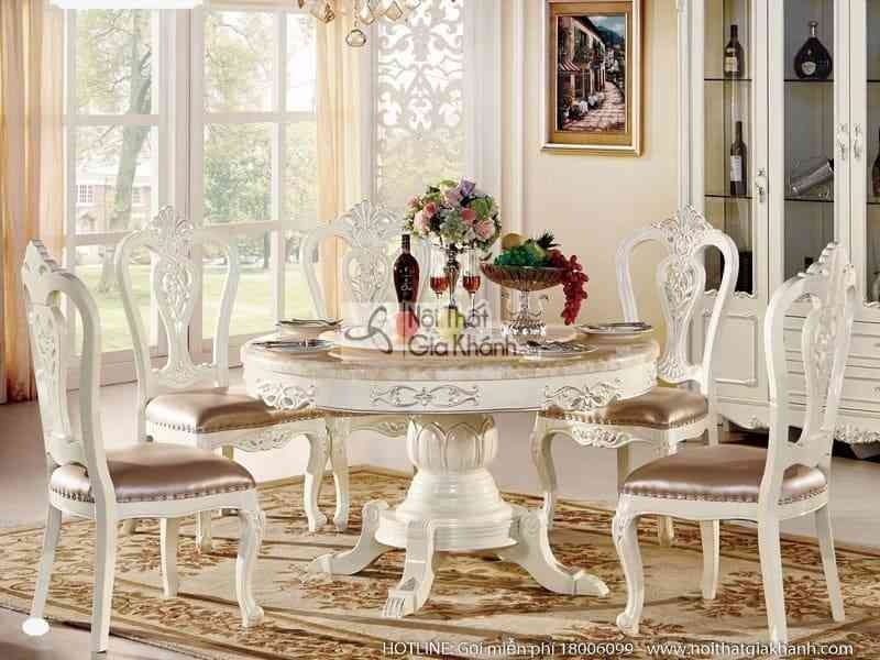 Bộ bàn ăn tròn (1m3) + ghế ăn phong cách tân cổ điển H8802BBAT1.3