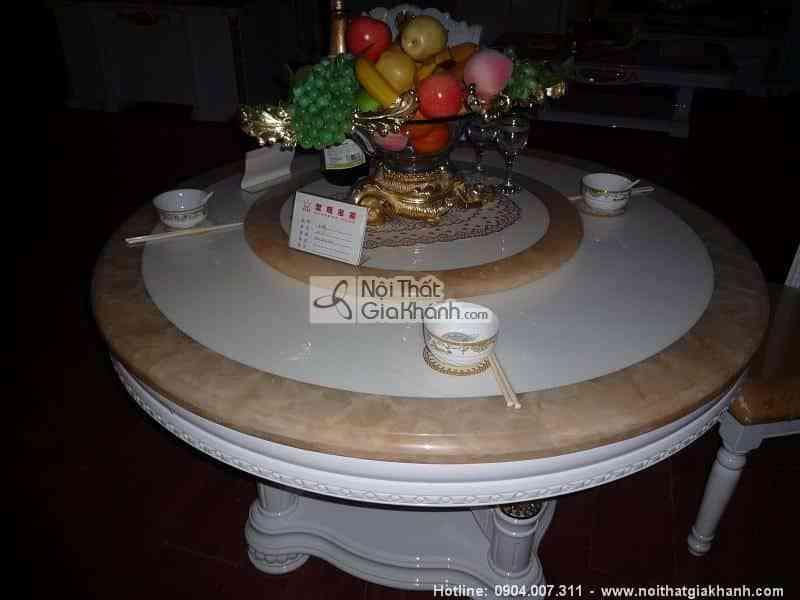 Bộ bàn ăn tròn mặt đá sang trọng KH203C