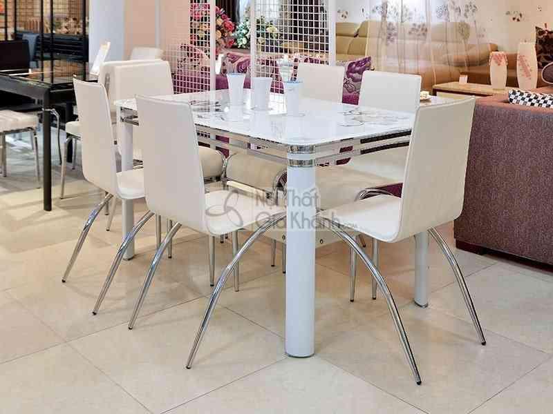 Những mẫu bàn ghế phòng ăn gia đình giá rẻ Hà Nội - bo ban ghe phong an bang kinh 6 ghe dep mat t856