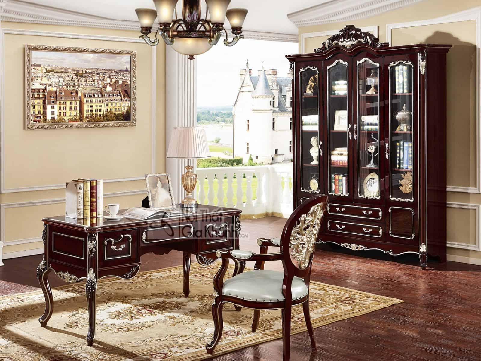 Bộ bàn ghế - tủ sách làm việc tân cổ điển BV8801G