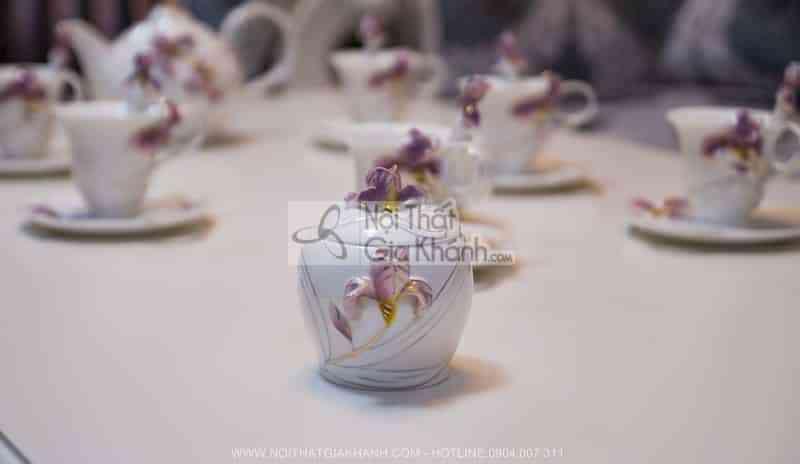 Bộ cốc pha trà đạo bằng sứ xương cao cấp 08047C