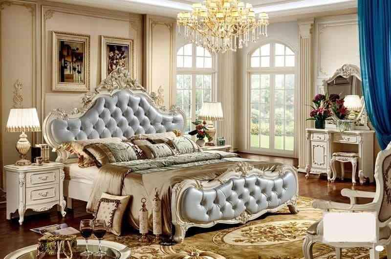 bo giuong ngu 1m8 em ai 8815abg - Giường ngủ đôi êm ái phong cách Pháp 8815A