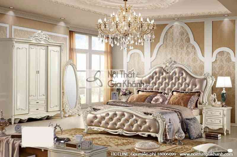 bo giuong ngu 1m8 phong cach phap tinh te 8805abg - Giường ngủ (1m8x2m) French White 8805AL