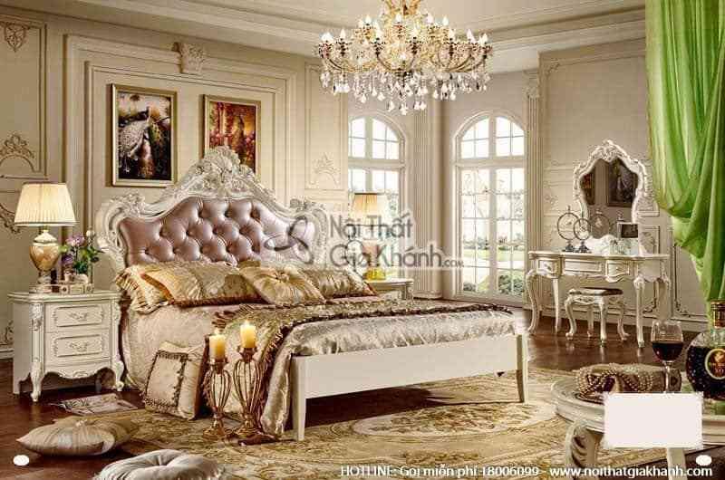 Bộ giường ngủ 1m8 tinh tế phong cách Pháp 8810ABG