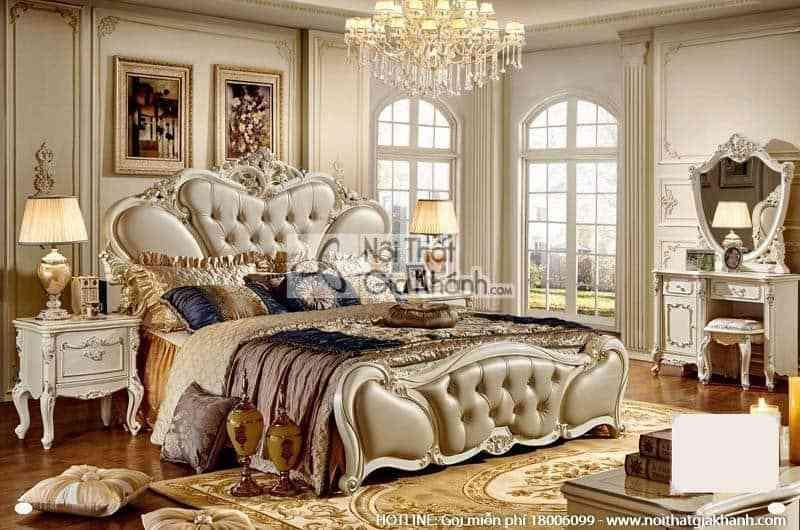 Bộ giường ngủ êm ái 1m8 phong cách Pháp 8811ABG