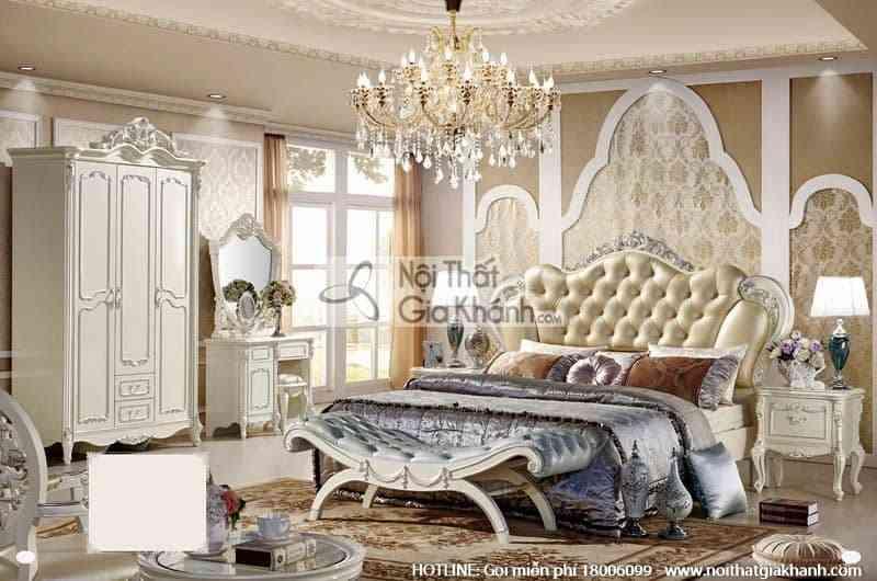 Bộ giường ngủ phong cách Pháp độc đáo French White 8806ABG