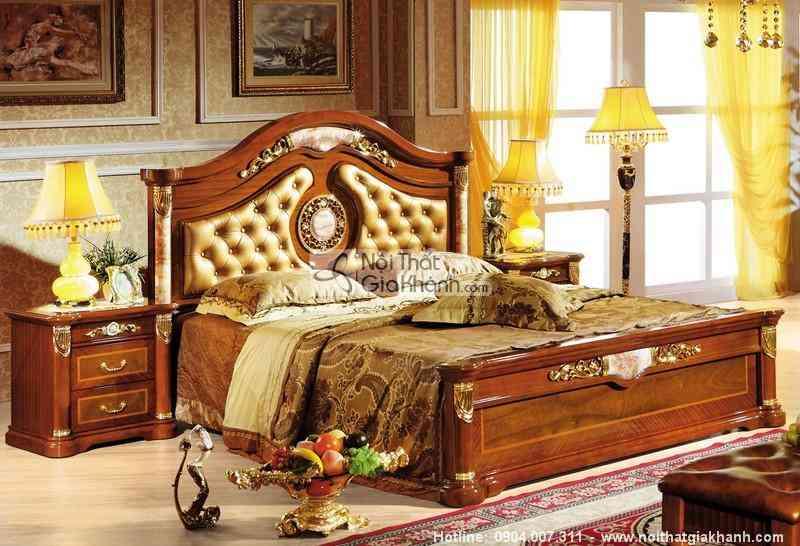 Giường ngủ gỗ sồi cao cấp KH511AL - bo phong ngu go tu nhien tan co dien chau au kh511bg 4