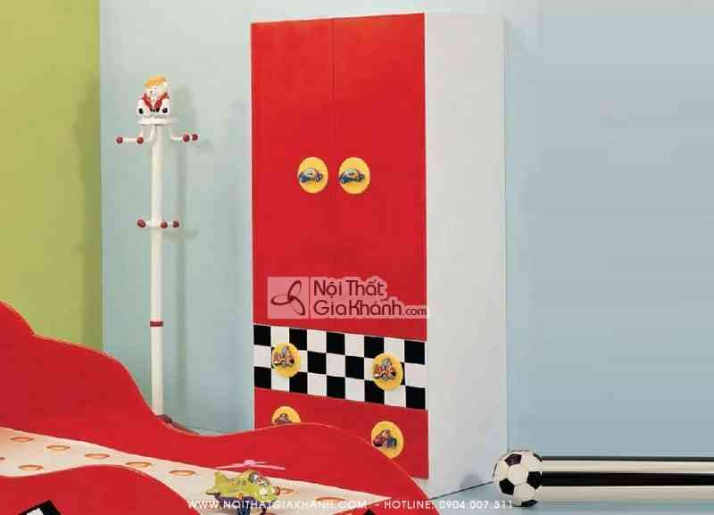 Bộ phòng ngủ hình xe ô tô đua F1 màu đỏ D112B
