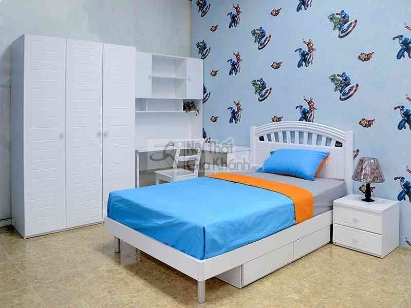 Bộ phòng ngủ trắng tinh khôi 1m2 cho bé gái 912
