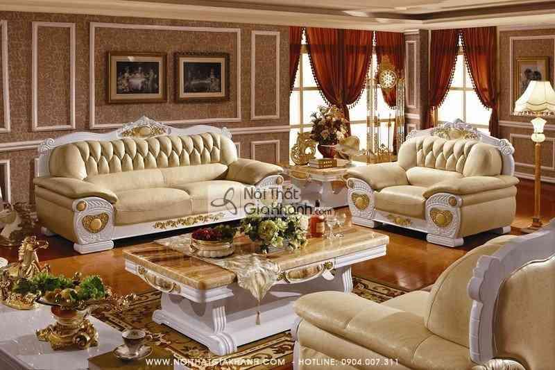 Bộ sofa da thật tân cổ điển cao cấp KH306S-SF