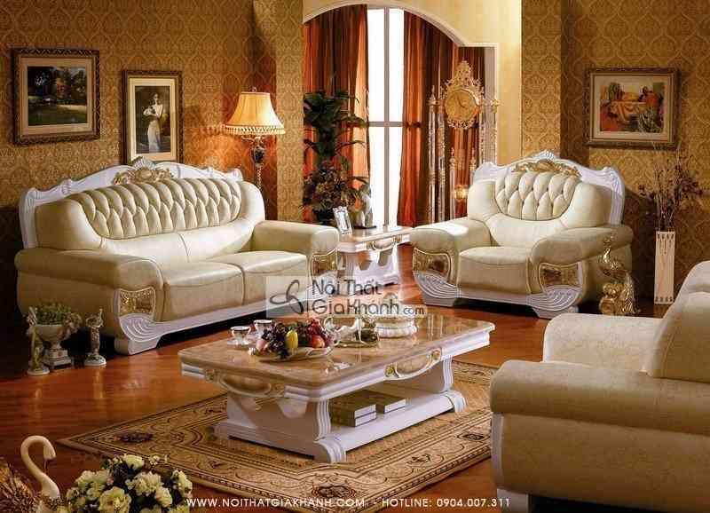 Bộ sofa tân cổ điển nhập khẩu cho phòng khách đẹp KH303SF