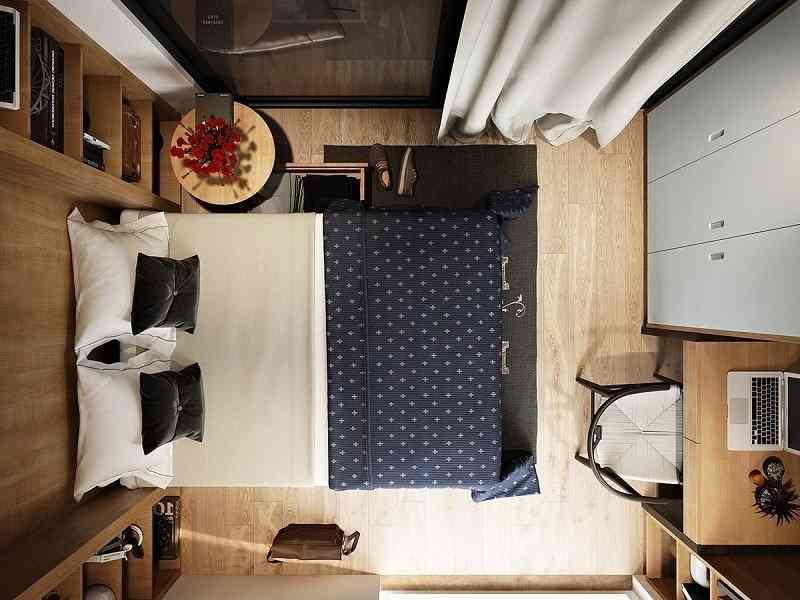 Cách bố trí nội thất phòng ngủ diện tích 9m2 - cach bo tri noi that phong ngu dien tich 9m2