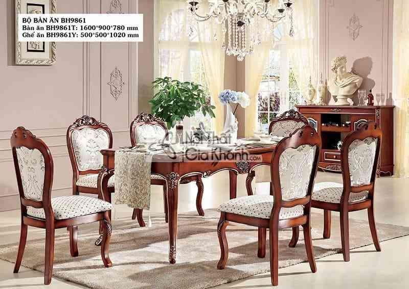 ghe an tan co dien gia re bh9861y 1 2 - Bộ bàn ăn chữ nhật 6 ghế tân cổ điển giá rẻ BH9861BBA1.6