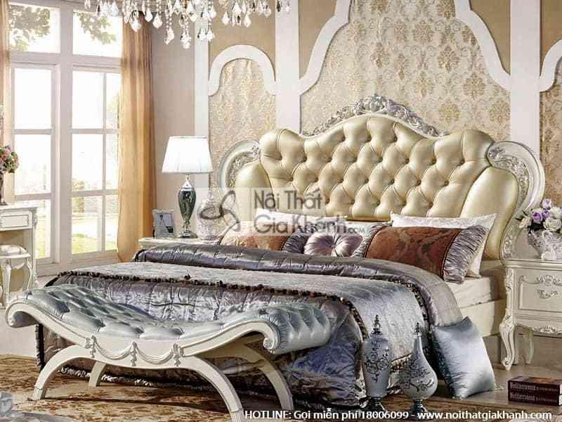 giuong ngu da nhap khau phong cach phap h8806al - Bộ giường ngủ phong cách Pháp độc đáo French White 8806ABG