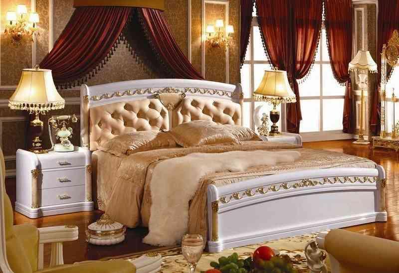 Giường ngủ Tân cổ điển gỗ sồi trắng đẹp đa năng KH3007A