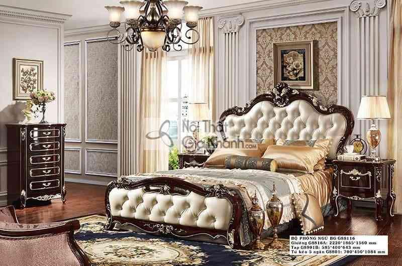 giuong ngu tan co dien sang trong go g8816as - Tủ đầu giường gỗ tân cổ điển TA8801G