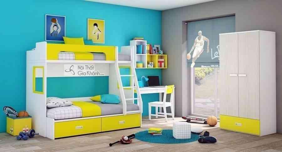 Giường Tomy 3 tầng màu vàng vui nhộn T1B1- Y4