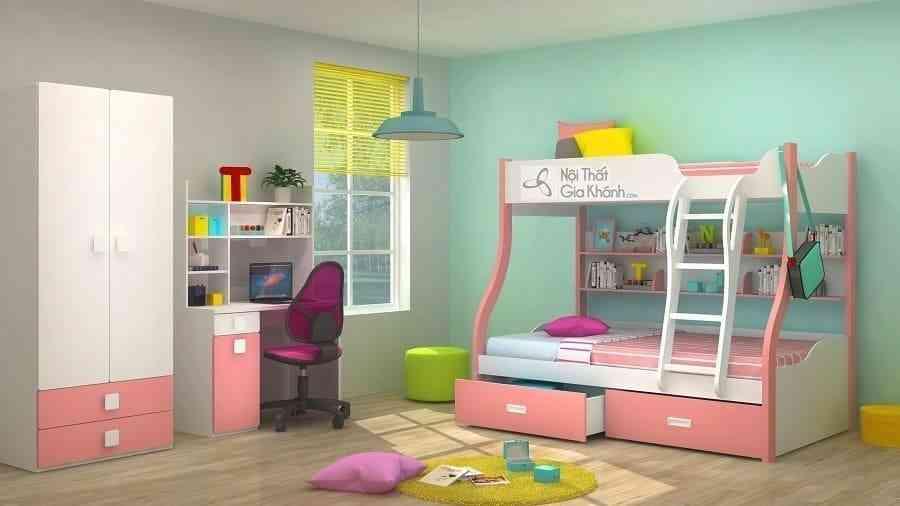 Giường Tomy 3 tầng trắng hồng có giá sách W825 – PK2