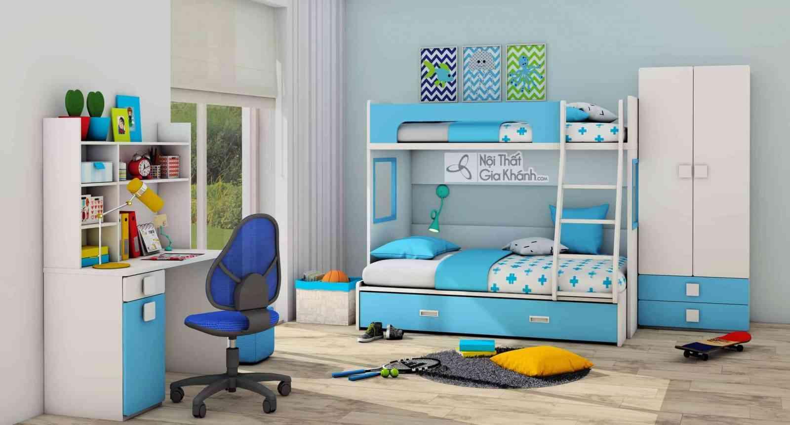 Giường Tomy 3 tầng xanh da trời mơ ước T1B1- B2